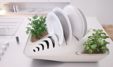 « Fluidity » : un égouttoir qui arrose vos herbes avec l'eau de votre vaisselle