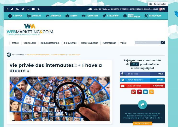 Vie privée des internautes : « I have a dream »