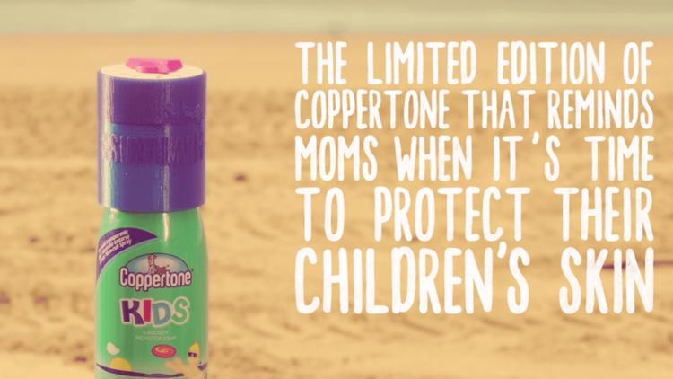 Coppertone imagine un packaging qui rappelle d'utiliser de la crème solaire